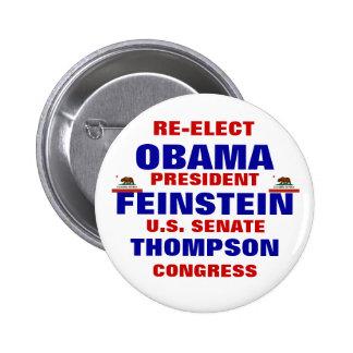 California for Obama Feinstein Thompson 6 Cm Round Badge