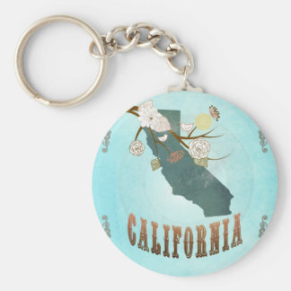 California Map With Lovely Birds Basic Round Button Key Ring