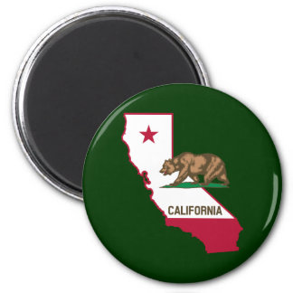 California Outline and Flag 6 Cm Round Magnet