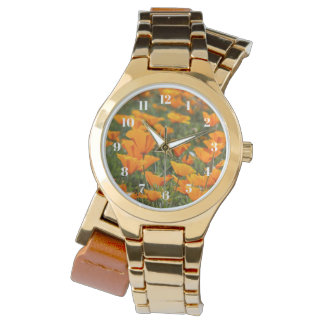 California Poppy Field Gold Women's Watch