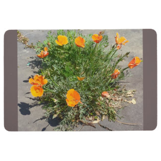 California Poppy Orange Flowery Doormat Floor Mat