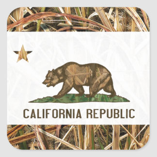 California Republic Flag Bear Camo Square Sticker