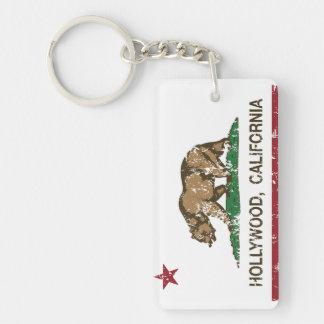 California Republic Flag Hollywood Double-Sided Rectangular Acrylic Key Ring