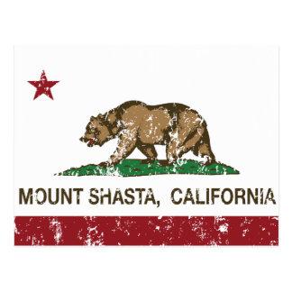 California Republic Flag Mount Shasta Postcard