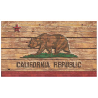 California Republic Flag Vintage Wood Design Tablecloth