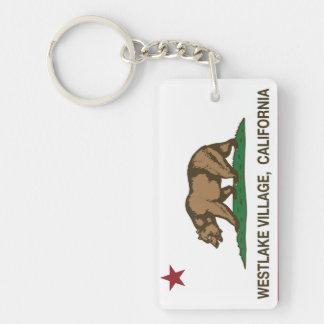 California Republic Flag Westlake Village Double-Sided Rectangular Acrylic Key Ring
