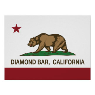 California Stat Flag Diamond Bar Posters