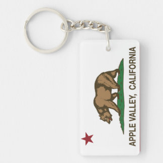 California State Flag Apple Valley Double-Sided Rectangular Acrylic Key Ring