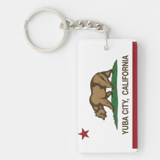 California State Flag Yuba City Double-Sided Rectangular Acrylic Key Ring
