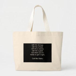 Call Me Otaku Large Tote Bag