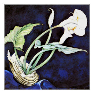 Calla Lilies, floral painting by Charles Demuth Poster