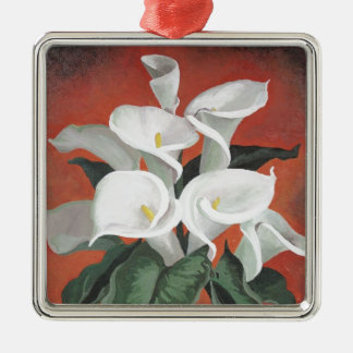 Calla Lilies On A Red Background Christmas Ornament