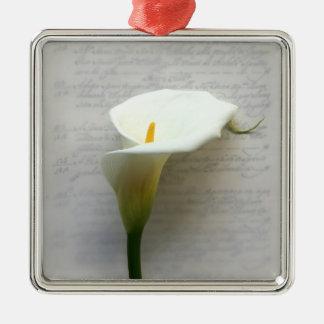 calla lily on old handwriting premium ornament
