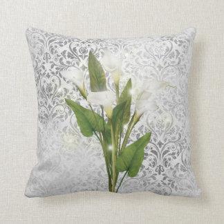 Calla Lily Silver Damask Sparkle Anniversary Pillo Cushion