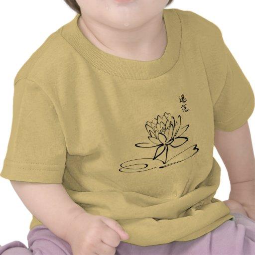 Calligraphy Asian Lotus Flower T-shirts