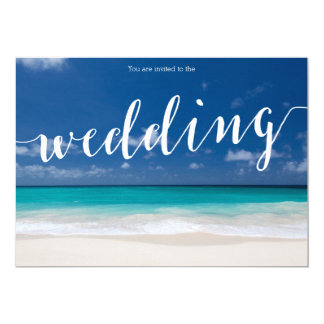 Calligraphy Beach Wedding Invitations