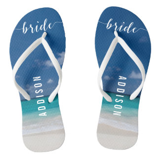 Calligraphy Beach Wedding Party Flip Flops Bride Thongs