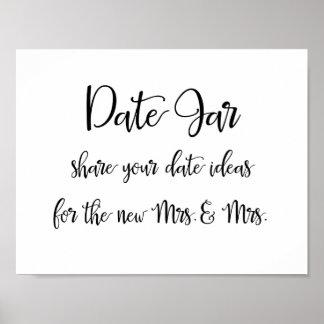 Calligraphy | Date jar ideas lesbian wedding sign Poster