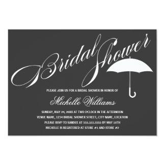 Calligraphy Umbrella Gray Bridal Shower Card