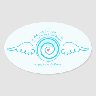 Calm Heart in a Storm Oval Sticker