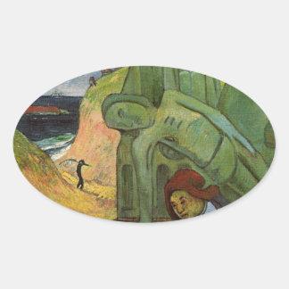 Calvaire breton by Paul Gauguin Oval Sticker