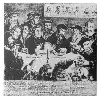 Calvin and Luther (engraving) Tile