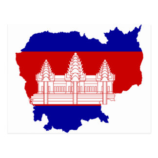 Cambodia Flag map KH Postcard