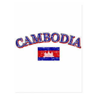 Cambodia football design postcard