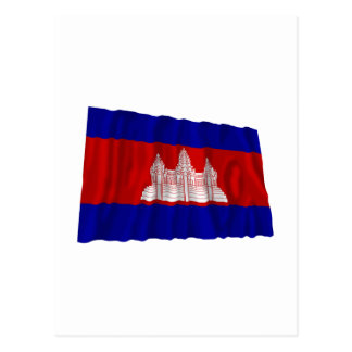 Cambodia Waving Flag Postcard