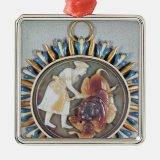 Cameo depicting Emperor Shah Jahan killing lion Christmas Ornament