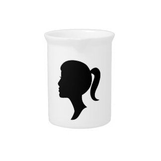 Cameo Silhouette Girl Pitcher