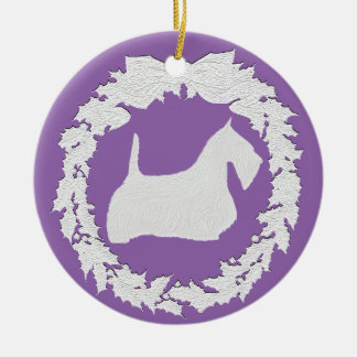 Cameo Style Embossed Look Scottie Christmas Ornament