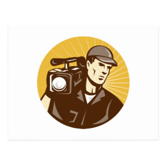 cameraman film crew with video movie camera postcard