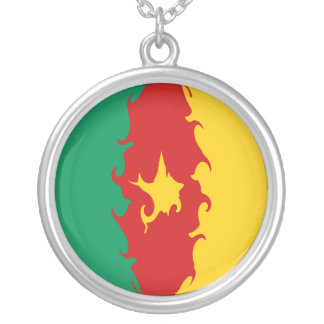 Cameroon Gnarly Flag Round Pendant Necklace