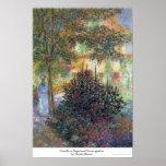 Camille in Argenteuil house garden Claude Monet Poster