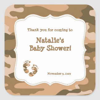Camo Army Brown Baby Shower Favor Label