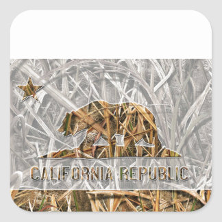 Camo California Bear Square Sticker