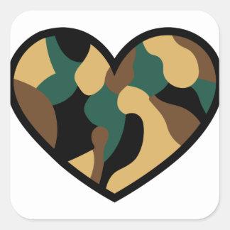Camo Heart Square Sticker