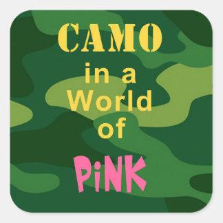 Camo in Pink Square Sticker