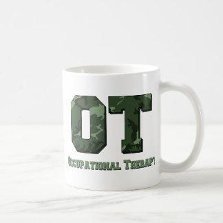 camo letters dark green coffee mug