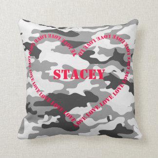 Camo Love Heart Pillow Throw Cushions