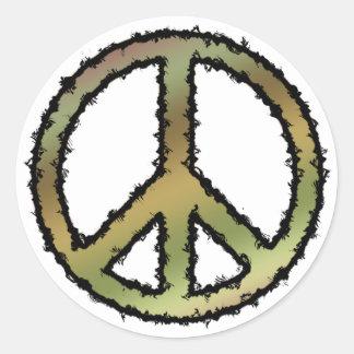 Camo Peace Sign Classic Round Sticker