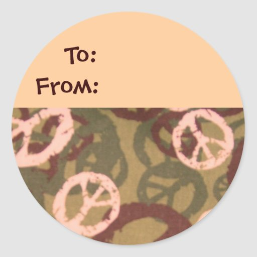 Camo/Peace Signs Look Gift Tag Sticker