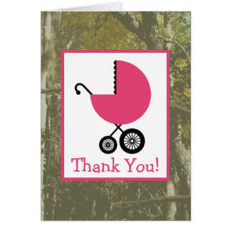 Camo & Pink Carriage Baby Shower Thank You Cards