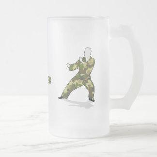 Camo Soldier In Black Green Khaki Drinks Glass Coffee Mug