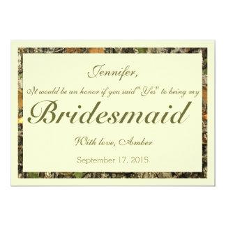 Camo Will You Be My Bridesmaid Invitation