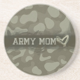 Camouflage Army Mom Heart of Love Coaster