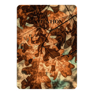 camouflage Autumn Leaves Orange Fall Foliage Card