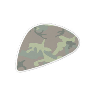 Camouflage Camo Green Brown Pattern White Delrin Guitar Pick