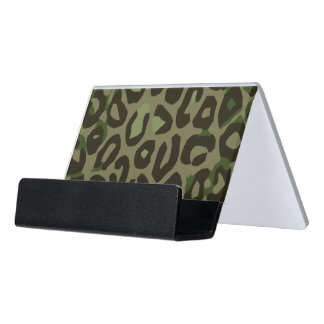 Camouflage Cheetah Abstract Desk Business Card Holder